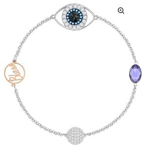Swarovski two tone evil eye bless link bracelet
